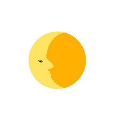 Isolated moon flat icon lunar element can vector