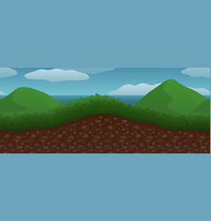 Landscape with two green mountains and sea vector