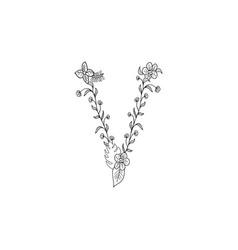 Letter v floral ornament vector
