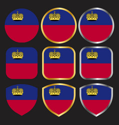 Liechtenstein flag icon set with gold and silver vector