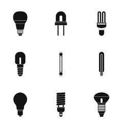 Lighting icons set simple style vector image
