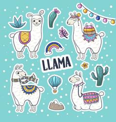 llama hand drawn vector image