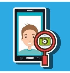 man cartoon smartphone camera search vector image