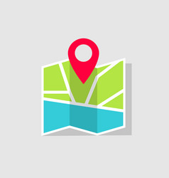map icon with gps pin location on pin vector image