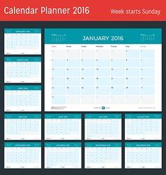 Monthly Calendar Planner for 2016 Year Design vector