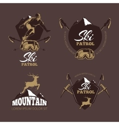 Mountain climbing color labels Ski Resort vector