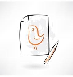 Painted bird grunge icon vector
