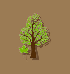Paper sticker on stylish background plant acer vector