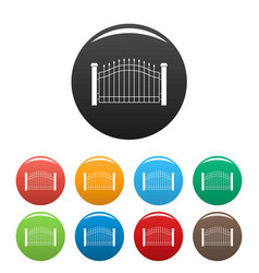 park fence icons set color vector image