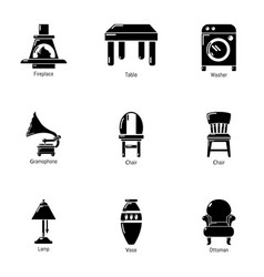 Parlour icons set simple style vector