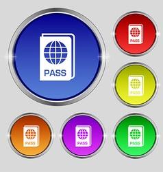 Passport icon sign Round symbol on bright vector