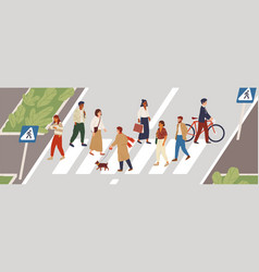 People at crosswalk flat vector