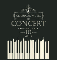 Poster for concert classical music with piano keys vector