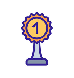 prize cup with number one icon outline vector image