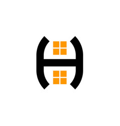 real estate letter h and window house logo vector image