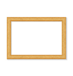 Realistic wooden picture frame isolated on white vector