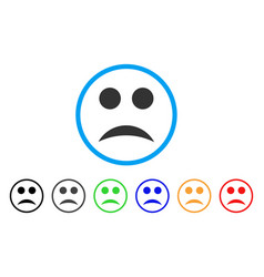 sad smile rounded icon vector image