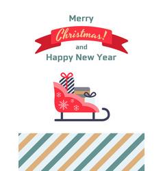 santa sleigh gifts card vector image