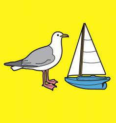 seagull and toy boat vector image