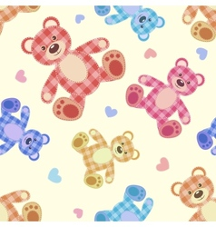 Seamless bear light patchwork pattern vector image