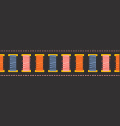 Seamless border with thread and stitches vector