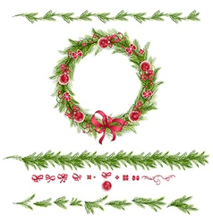 Set of christmas pine twigs and holiday decoration vector