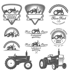 Set of retro farm fresh labels and design elements vector image
