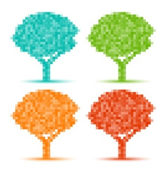 Set of season pixel trees vector image
