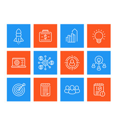 Startup line icons set product launch funding vector