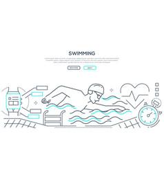 swimming - modern line design style web banner vector image