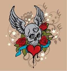 tattoo skull graphic vector image