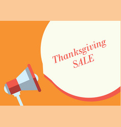 thanksgiving sale text and marketing megaphone vector image