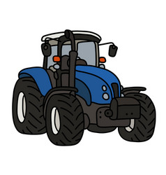 The blue heavy tractor vector