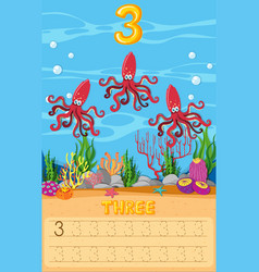 Three octopus underwater worksheet vector