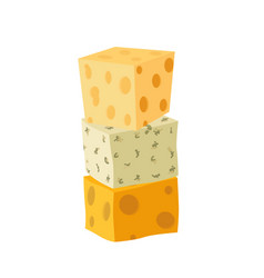 three types of cheese cheddar parmesan danablue vector image