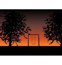 Tree with a swing on night stars sky vector