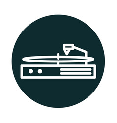 turntable vinyl music sound block style icon vector image