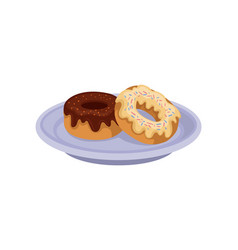 Two sweet donuts with chocolate and vanilla glaze vector