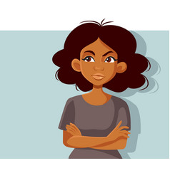 Unhappy african woman standing with arms crossed vector