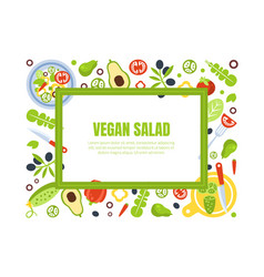 Vegan salad banner template with fresh organic vector