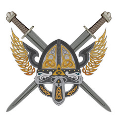 viking winged helmet with two crossed swords and vector image