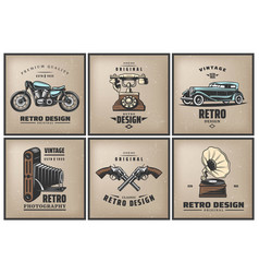 vintage colored posters set vector image