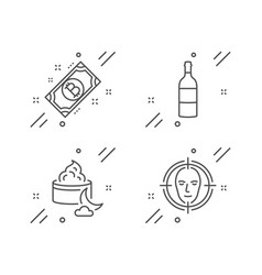 Wine bottle bitcoin and night cream icons set vector