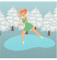 winter background cartoon woman skater vector image