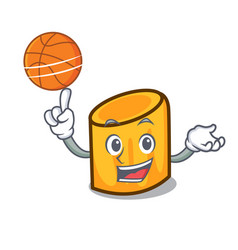 With basketball rigatoni character cartoon style vector