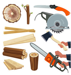 wood materials wooden production and cut vector image