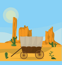 wooden carriage on desert vector image