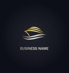 Yacht boat abstract gold logo vector