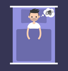 insomnia conceptual young bearded man lying in vector image vector image