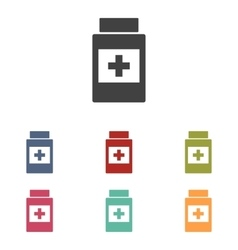 Medical container icons set vector image
